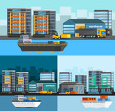 Sea Port Orthogonal Compositions Set. With freight ships and harbor buildings truck and loader isolated vector illustration Royalty Free Stock Photography