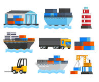 Sea Port Orthogonal Icons Set. With ships and truck lighthouse depot and freight loader isolated vector illustration Stock Photos