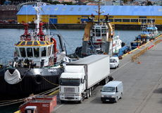 Sea port of Punta Arenas in Chile. Royalty Free Stock Image