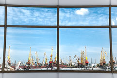 Sea port in reflection Stock Images
