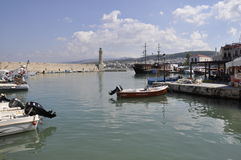 Sea port of Rethymno. The boat. The Island Of Crete. Greece Royalty Free Stock Photography
