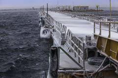 Sea port. It`s port of Odessa. There is winter. It was cold and snowing royalty free stock image