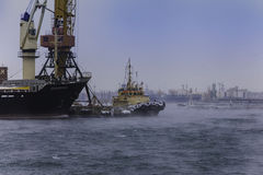 Sea port. It`s port of Odessa. Winter. it was foggy stock photos