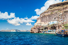 Sea port on the Santorini island, Greece Stock Images