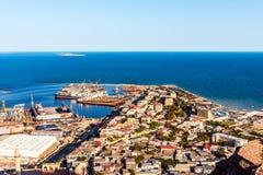 Sea port. Sea bay with cargo ships stock photos