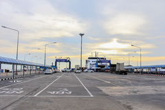 Sea port of seatran ferry terminal a pier koh samui,surat thani Stock Photo
