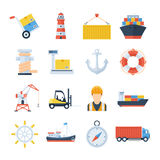 Sea port set of vector icons in a flat style. Loading and unloading of cargo ships in the port. Icons of a crane, a forklift, a cargo ship, containers and a Royalty Free Stock Image