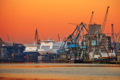 Sea port and shipyard Royalty Free Stock Photo