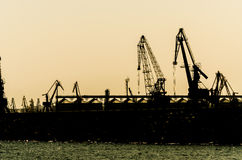 Sea Port Silhouette Royalty Free Stock Image