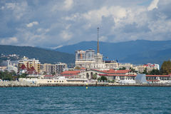 Sea port of Sochi. View of Sochi from the sea Royalty Free Stock Images