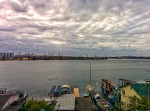 Sea port in suburbs of Odessa. View on bay in area of fishing port Stock Photos