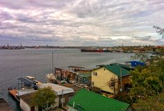Sea port in suburbs of Odessa. View on bay in area of fishing port Royalty Free Stock Photos
