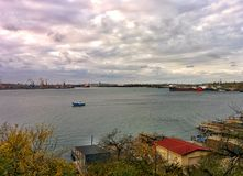 Sea port in suburbs of Odessa. View on bay in area of fishing port Royalty Free Stock Photography