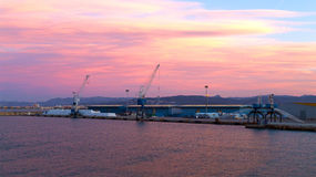 Sea port at sunset. Stock Photography