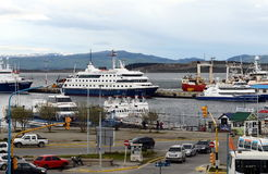 Sea port of Ushuaia - the southernmost city of the Earth. USHUAIA, ARGENTINA - NOVEMBER 17,2014:Sea port of Ushuaia - the southernmost city of the Earth Stock Images
