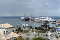 Sea port of Ushuaia - the southernmost city in the world. Stock Images