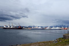 Sea port of Ushuaia - the southernmost city in the world. Royalty Free Stock Image