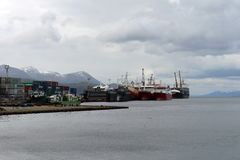 Sea port of Ushuaia - the southernmost city in the world. Royalty Free Stock Photography