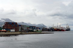 Sea port of Ushuaia - the southernmost city in the world. USHUAIA, ARGENTINA - NOVEMBER 17,2014: Sea port of Ushuaia - the southernmost city in the world Royalty Free Stock Image