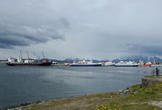 Sea port of Ushuaia - the southernmost city in the world. Stock Image