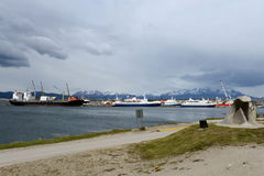 Sea port of Ushuaia - the southernmost city in the world. Stock Photography