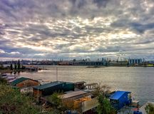 Sea port. View on fishing port in suburbs of Odessa Royalty Free Stock Photography