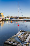 Sea port in winter season royalty free stock image