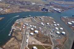 Sea ports of Hudson River aerial. Aerial shot of sea ports along hudson river NJ and NY stock photos