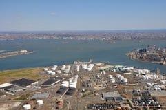 Sea ports of Hudson River aerial. Aerial shot of sea ports along hudson river NJ and NY Royalty Free Stock Image