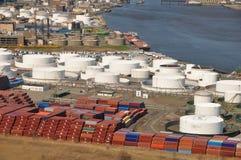 Sea ports of Hudson River aerial. Aerial shot of sea ports along hudson river NJ and NY stock photo