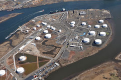 Sea ports of Hudson River aerial. Aerial shot of sea ports along hudson river NJ and NY Royalty Free Stock Photography