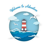 Sea postcard welcome to adventure style paper art. Lighthouse among waves is landscape, gulls and clouds in circle. Vector illustration Royalty Free Stock Photography