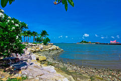 The sea is pretty,. Green coconut, the green sea, the  sky is blue,         a cloud is pritty Stock Photo