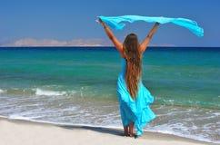 Sea princess. Fairy-tale long-haired girl on the seashore Stock Photos
