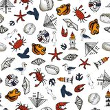 Sea pattern With small drawings. Vladivostok Stock Image