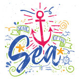 Sea print T-shirts for summer. Vector illustration. Hand lettering. Contour drawing Stock Photography