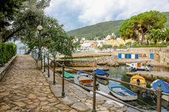 Sea promenade. Promenade Lungomare along coast. Croatia, resort Opatija stock photos