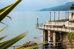 Sea promenade. Promenade Lungomare along coast. Croatia, resort Opatija royalty free stock photography