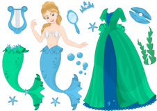 Sea Queen Paper Doll. Sea Queen Mermaid Paper Doll vector illustration