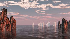 Sea racing. With yachts cliffs and clouds Royalty Free Stock Image