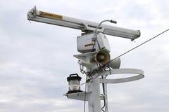 Sea radar. Shipborne radar in the sky stock images