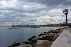 Sea in a rainy day in Bari. Sea view in a cloudy day in Bari, Italy Royalty Free Stock Photos