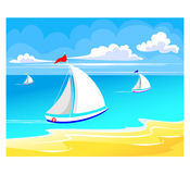 Sea regatta. Summer background, beach and yacht on sea Royalty Free Stock Images
