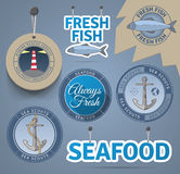 Sea related badges and labels Stock Photography