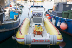 Sea rescue in Camogli, Italy. Italy: sea rescue ambulance boat in Camogli. This kind of speedy boat is used for the sea rescue in case of an emergency along the Royalty Free Stock Photos