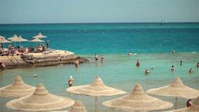 Sea resort travel tourists rest swim in the sea stock video footage