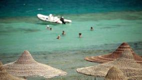 Sea resort travel tourists rest swim in the sea stock footage