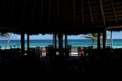 Sea Restaurant. A beautiful view of blue sea from a hotel restaurant on the beach Royalty Free Stock Images