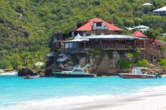 Sea restaurant in St Barths, Caribbean. Sea restaurant in Gustavia in St Barths, Caribbean Royalty Free Stock Photography