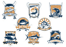 Sea and river fish and rods isolated icons Royalty Free Stock Images
